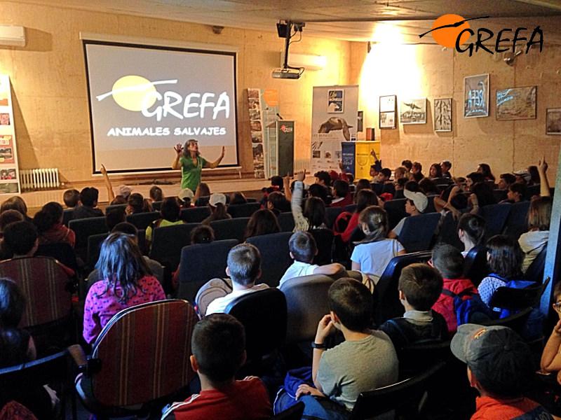 Trabajadora del equipo de educación de GREFA durante una exposición para alumnos visitantes del centro.