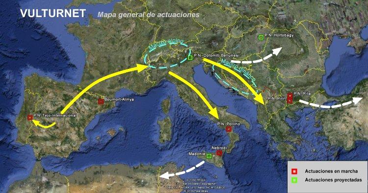 Mapa general de actuaciones en Europa del proyecto Vulturnet.