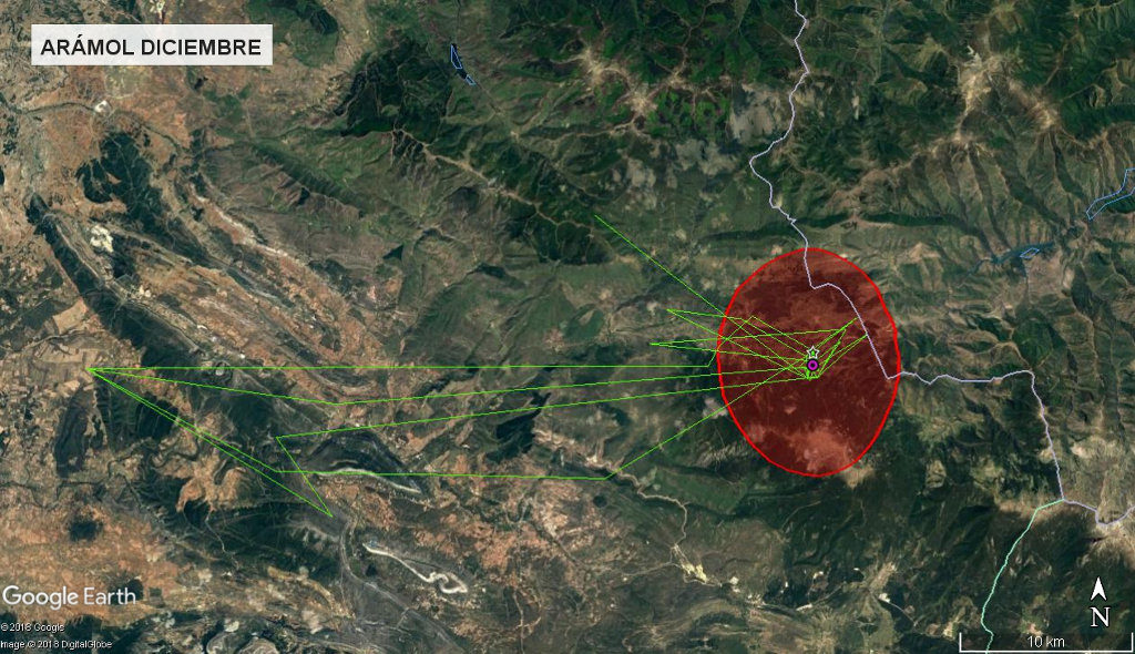 Mapa 15: Movimientos de Arámol durante el mes de diciembre. Se muestra el área vital en rojo (Kernel 50%).