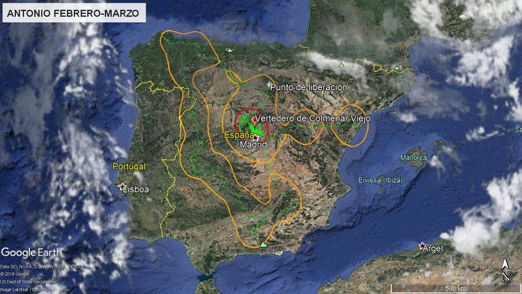 Mapa 17: Movimientos de Antonio durante los meses de febrero y marzo. La línea amarilla delimita el área de campeo (Kernel 95%) y la roja el área vital (Kernel 50%).