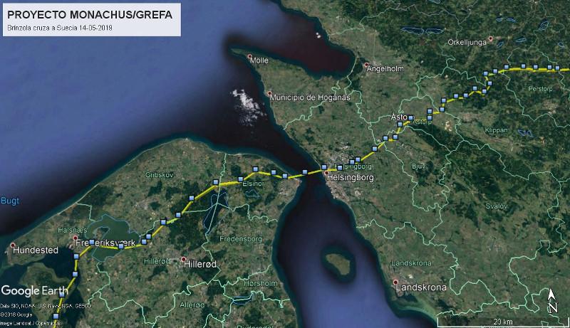 """Ruta seguida por """"Brínzola"""" para cruzar de Dinamarca a Suecia el 14 de mayo de 2019."""