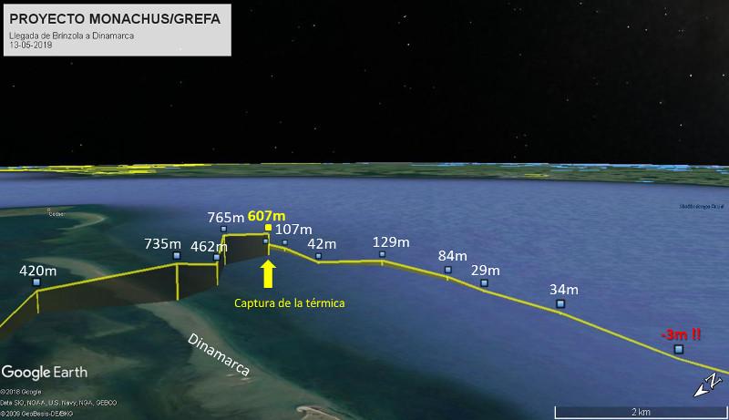 """Altitudes de vuelo de """"Brínzola"""" sobre el mar hacia Dinamarca, tras dejar atrás Alemania."""