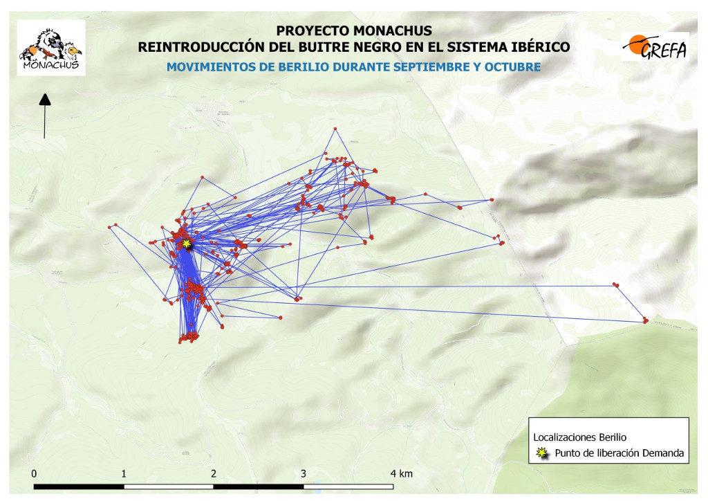 Mapa 2. Movimientos de Berilio durante los meses septiembre y octubre.