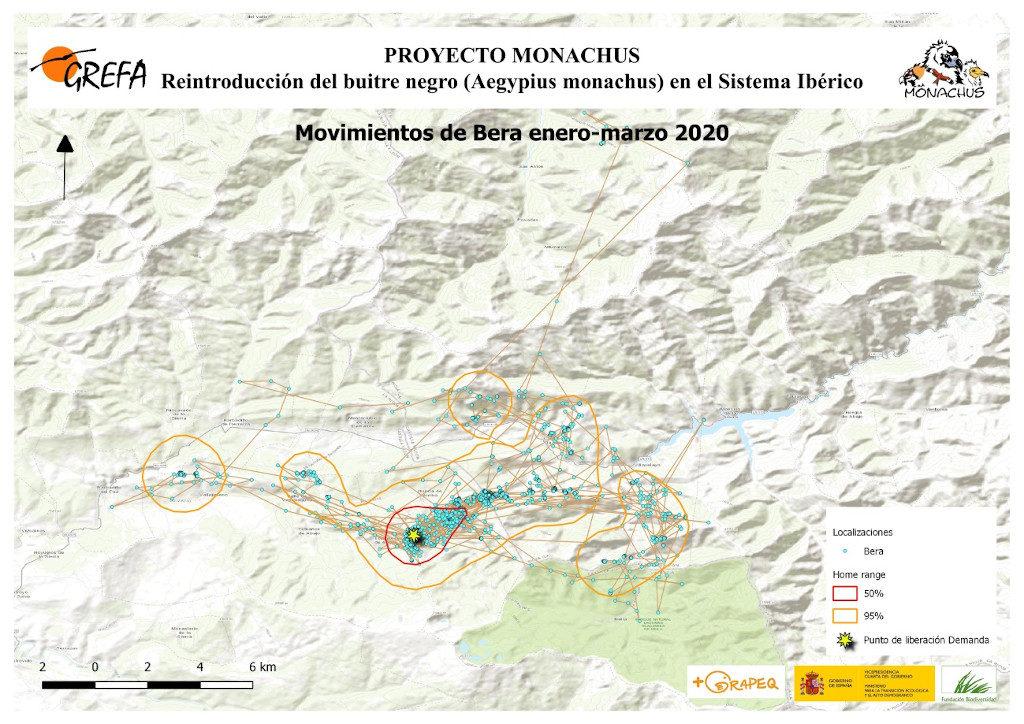 Mapa 1. Movimientos de Bera durante enero-marzo.