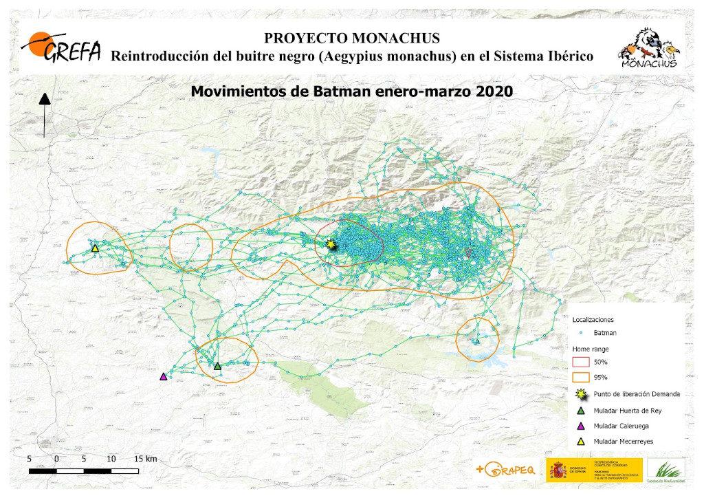 Mapa 5. Movimientos de Batman durante los meses de enero-marzo.