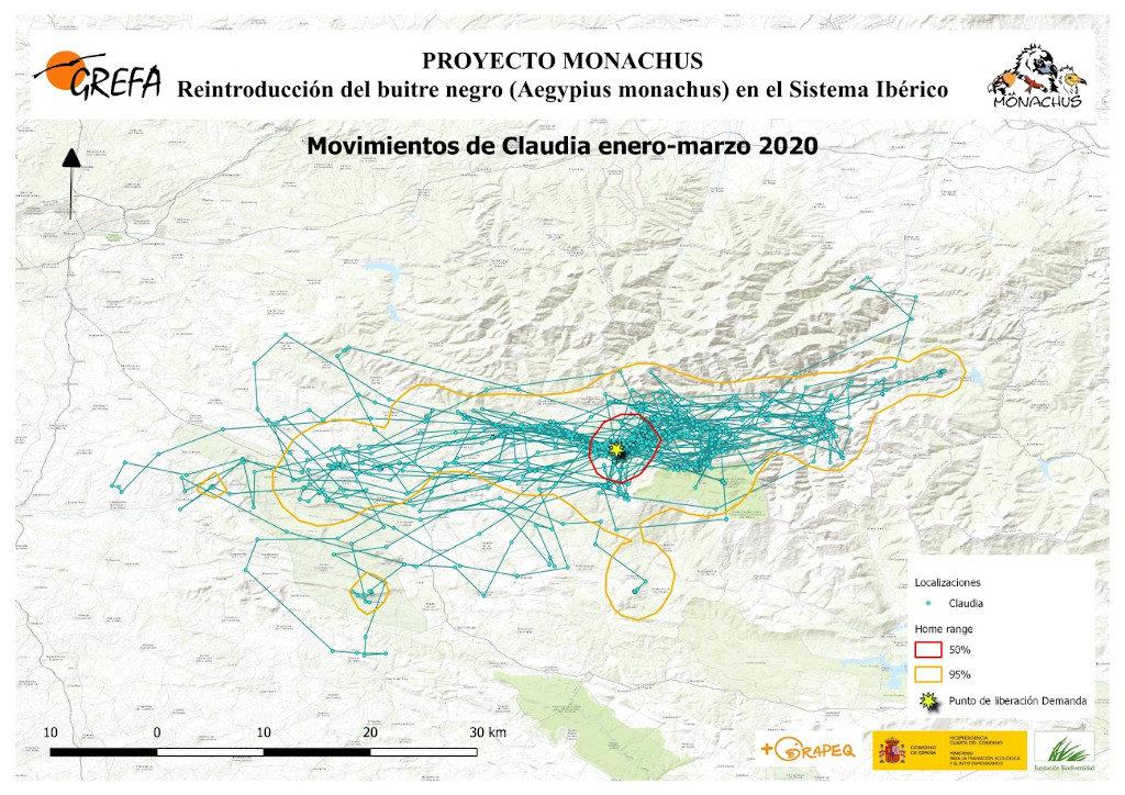 Mapa 12. Movimientos de Claudia durante los meses de enero-marzo.