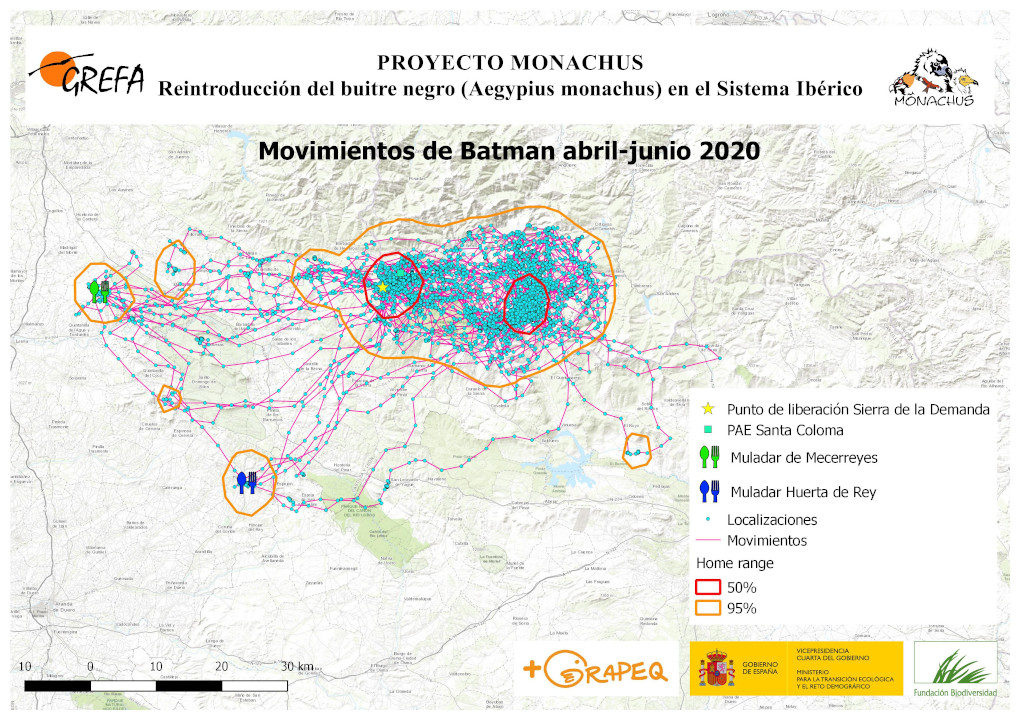 Mapa 5. Movimientos de Batman durante abril-junio.