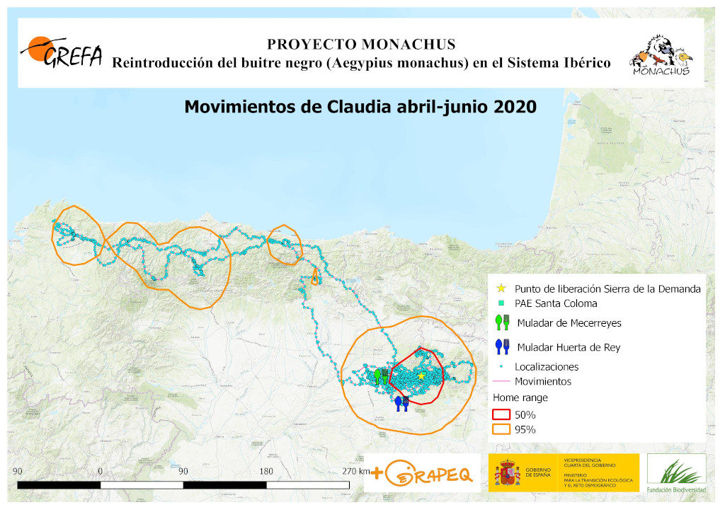 Mapa 20. Movimientos de Claudia durante abril-junio.