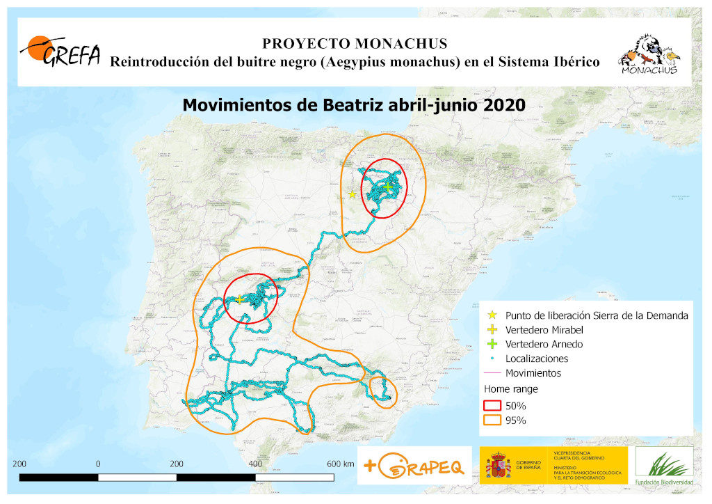Mapa 22. Movimientos de Beatriz durante abril-junio.