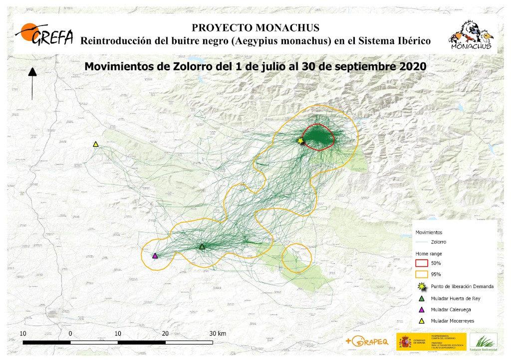 Mapa 3. Movimientos de Zolorro durante julio-septiembre.