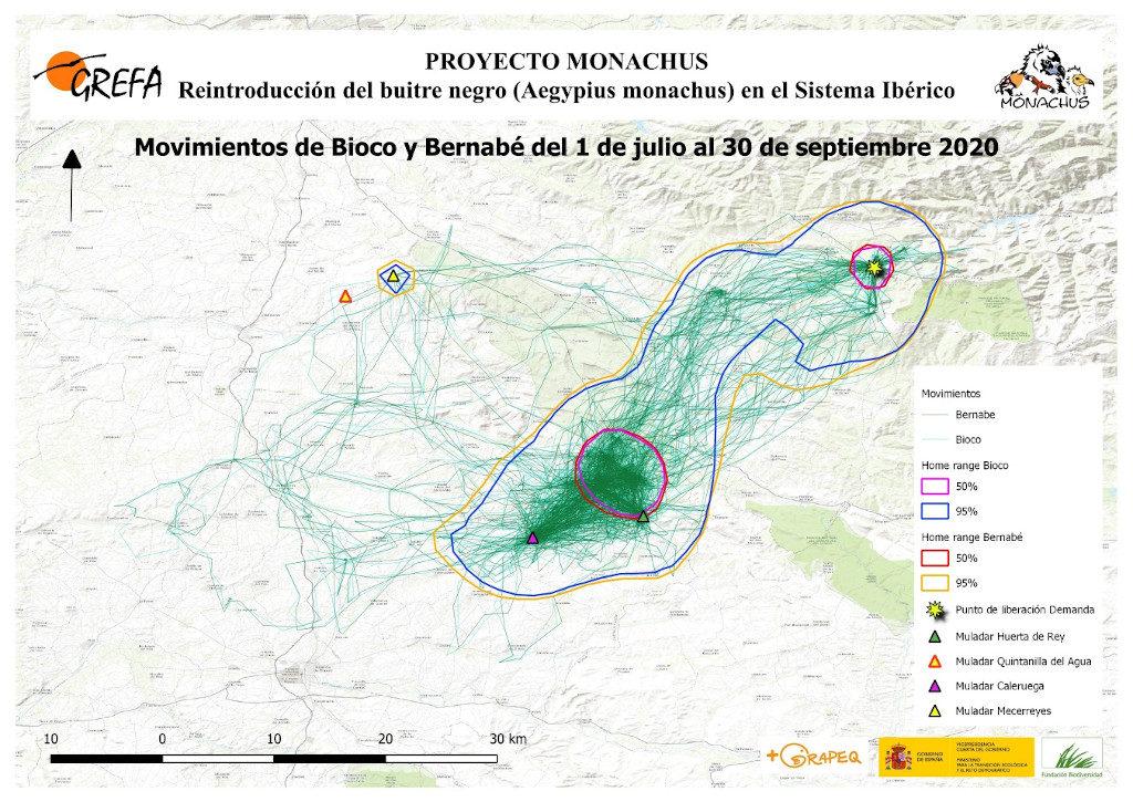 Mapa 6. Movimientos de Bioco y Bernabé durante los meses de julio-septiembre