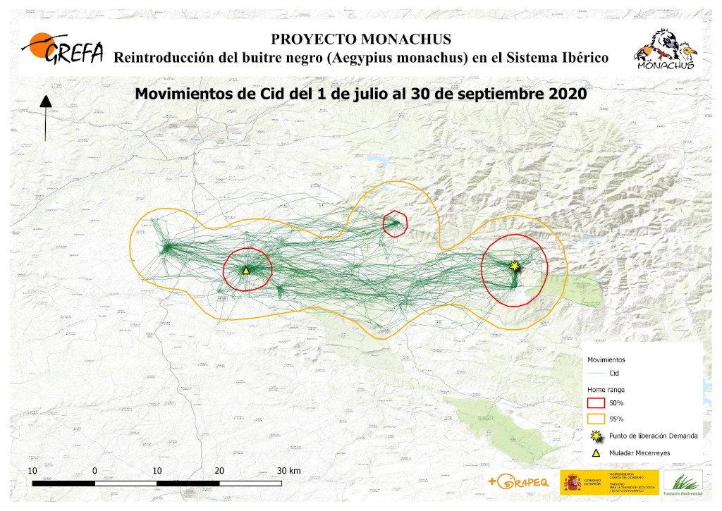Mapa 9. Movimientos de Cid durante los meses de julio-septiembre