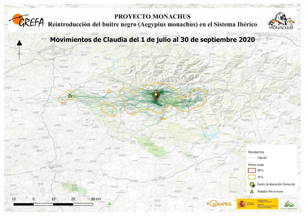 Mapa 11. Movimientos de Claudia durante los meses de julio-septiembre.