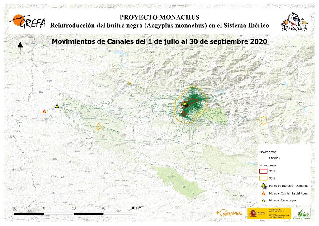 Mapa 12. Movimientos de Canales durante los meses de julio-septiembre.