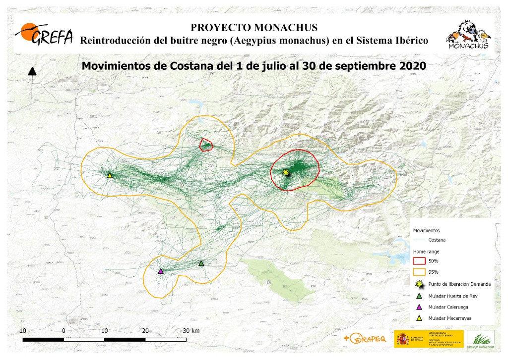 Mapa 13. Movimientos de Costana durante los meses de julio-septiembre.