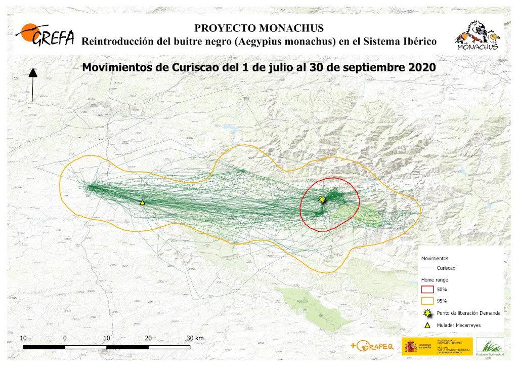 Mapa 14. Movimientos de Curiscao durante los meses de julio-septiembre.