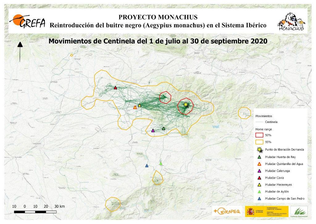 Mapa 16. Movimientos de Centinela durante los meses de julio-septiembre.
