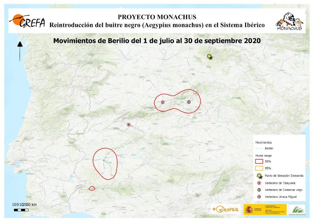 Mapa 17. Movimientos de Berilio durante los meses de julio-septiembre.