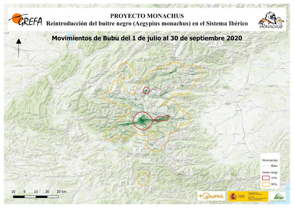 Mapa 18. Movimientos de Bubu durante los meses de julio-septiembre.